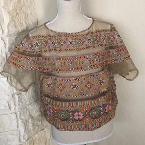 Anthropologie Tanvi Kedia Embroidered beaded top